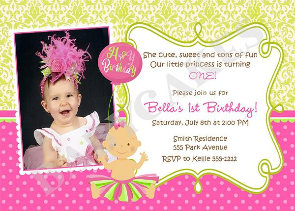 First Birthday Invitation Wording and 1st Birthday Invitations – Sample of Birthday Card Invitation