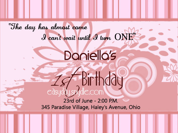 1st Birthday Invitation Wordings