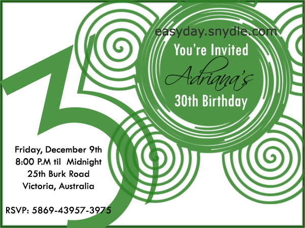30th Birthday Invitation Samples