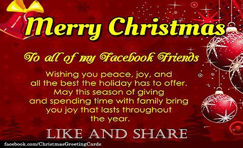 Christmas Wishes For Facebook Friends  Christmas Wishes Samples