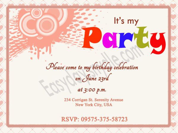 Birthday Invitation Wording Easyday – Party Invitation Message