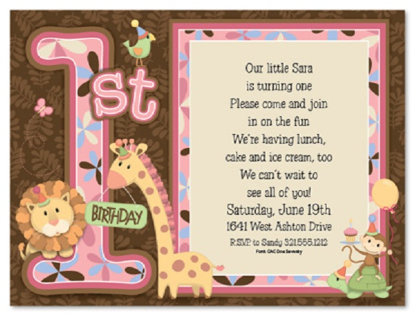 First Birthday Invitation Wording And 1st Invitations