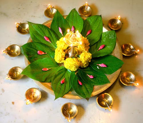 Diwali decorations ideas for office and home easyday for Simple diwali home decorations