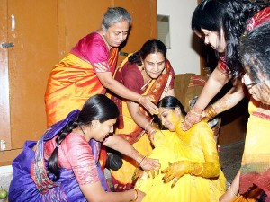 Haldi Ceremony Is Conducted A Day Prior To The Wedding Freshly Ground Turmeric Mixed With Fragrant Extracts Of Jasmine And Sandalwood Applied On