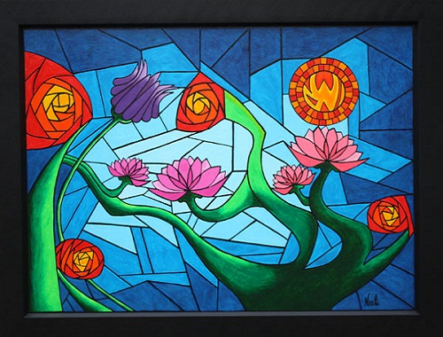 Abstract floral glass painting easyday for Abstract mural designs