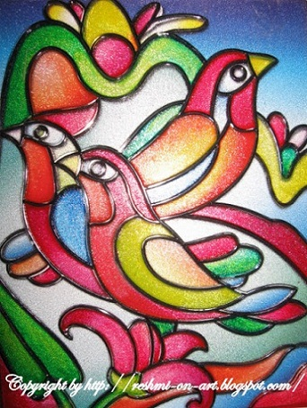 glass-painting-bird-design