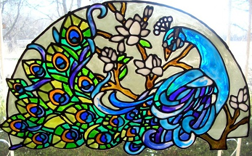 Glass Painting Of Peacock
