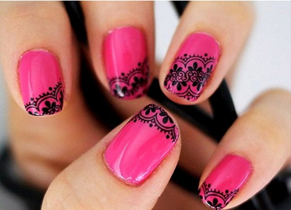 pink-nail-art-design - 40 + Cute And Easy Nail Art Designs For Beginners - Easyday