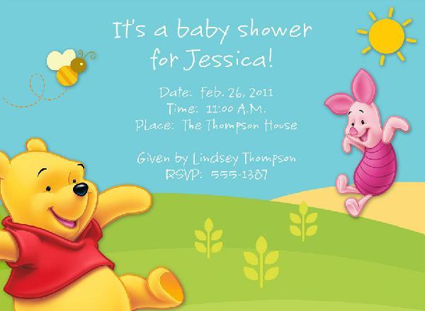 Winnie the Pooh Baby Shower Invitation 600 x 440