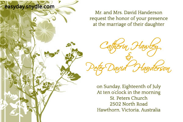Wedding Invitation Wording English: Wedding Invitation Wording Samples: What To Write In