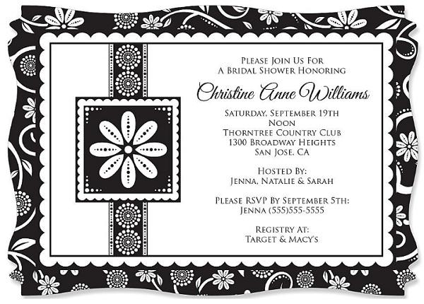 Black white bridal invitation easyday for Black and white bridal shower invitations