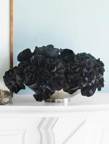 Black Paper Flower Arrangement. Country Living October 2010 Hall