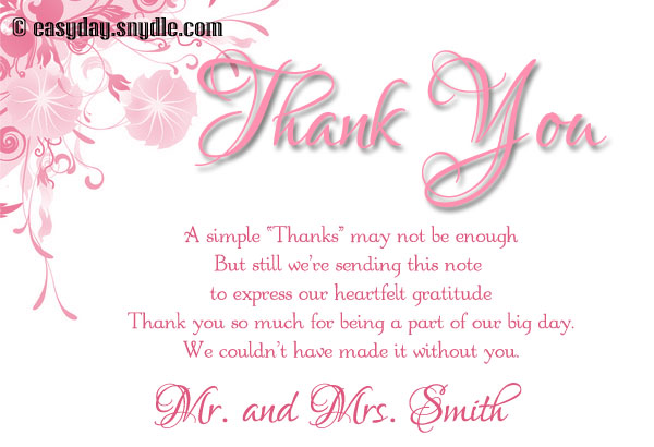 Wedding Thank You Card Wording Samples Easyday – Wedding Thank You Card Wording for Money Gift