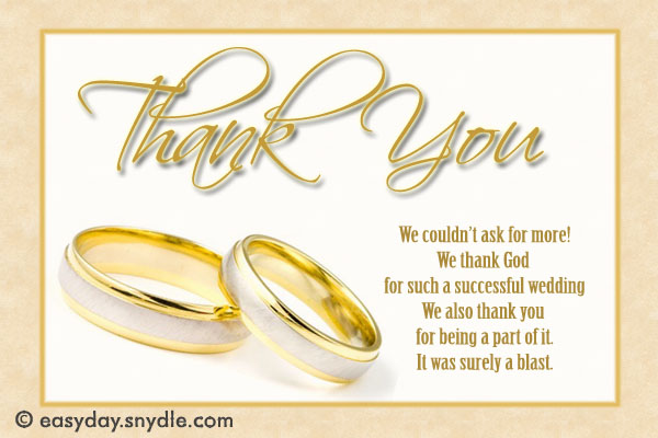 Wedding Thank You Card Wording Samples Easyday – Wedding Thank You Card Sample