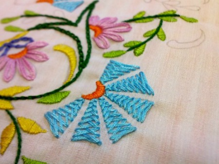 Embroidery Maching Design With Flowers And Heart
