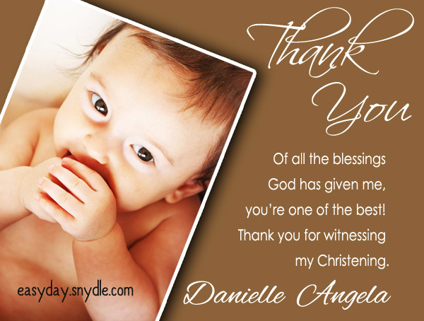 Thank you text messages for baptism and christening easyday christening thank you wording stopboris Choice Image