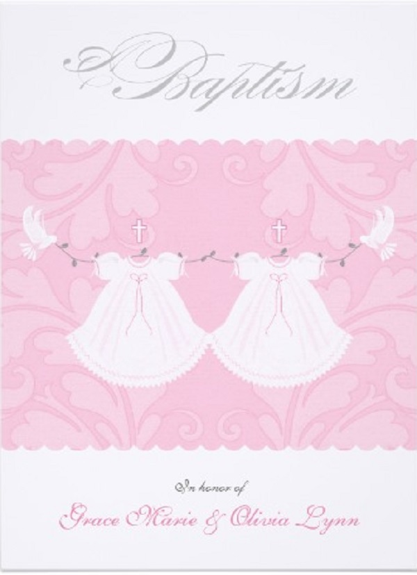 Double/2 babies Christening Invitations - Easyday