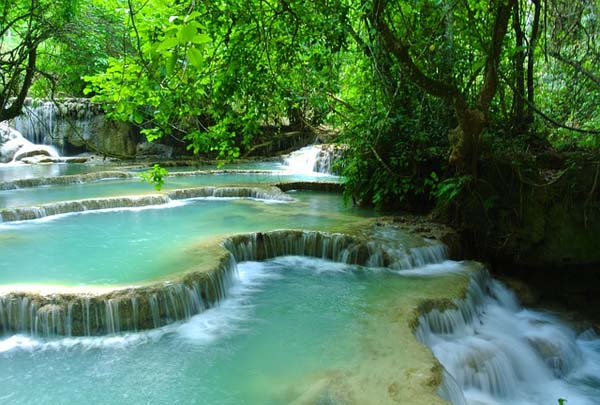 Luang Prabang Waterfall in Laos