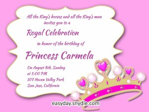 Princess Birthday Invitation Wording
