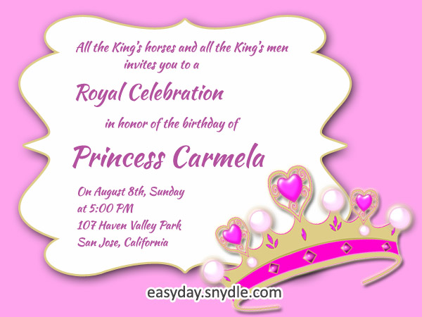 Princess Birthday Invitation Wording Samples And Ideas Easyday - Birthday invitation message examples