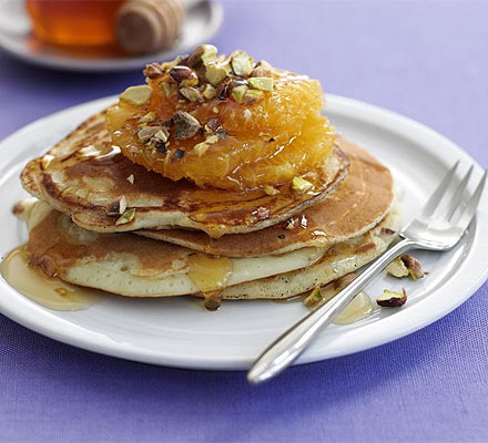 Ricotta pancakes with oranges & honey