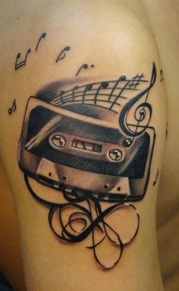 cassette music tattoo