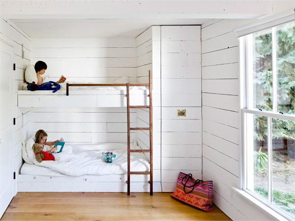 simple kids bedroom with bunk beds