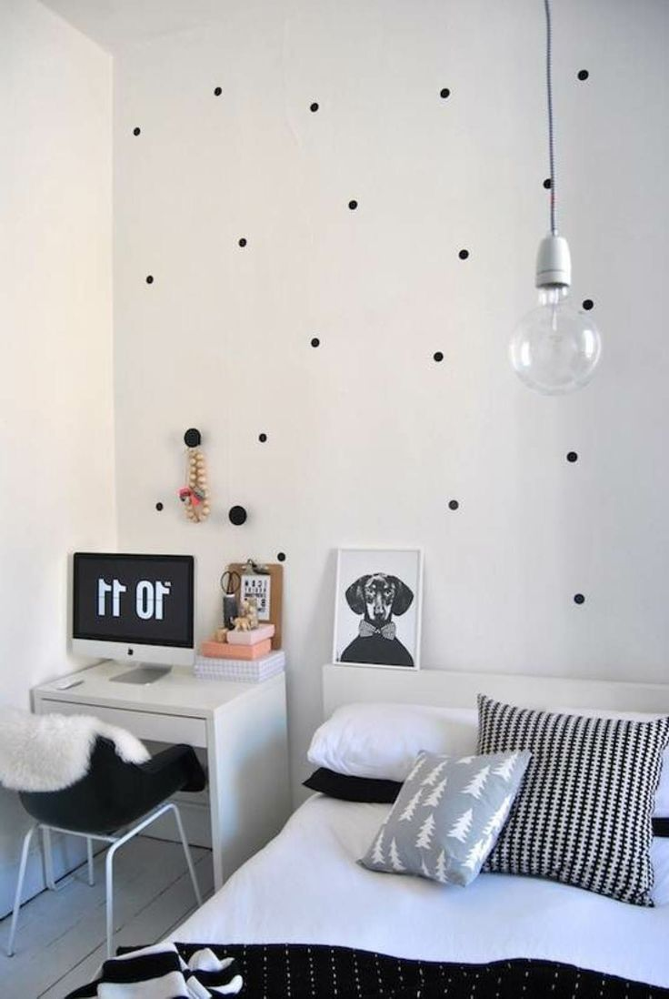 simple black and white bedroom