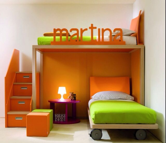 simple orange kids bedroom