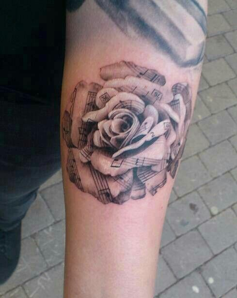 rose music tattoo