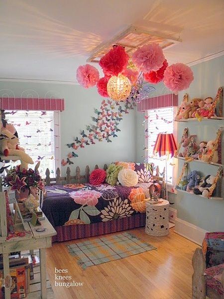 floral theme girls bedroom