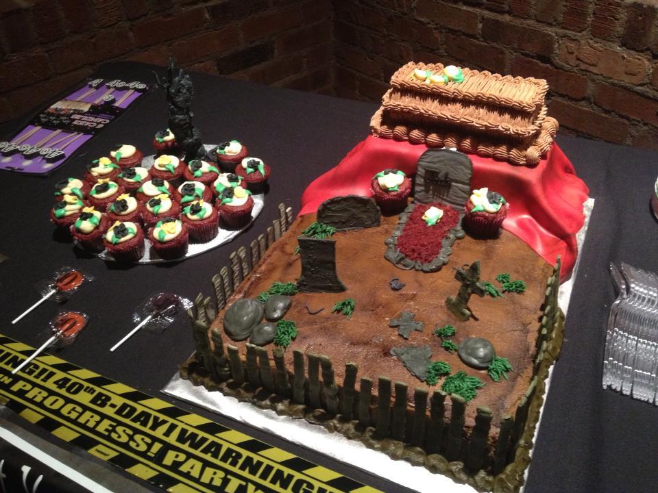 Casket Graveyard Cake -