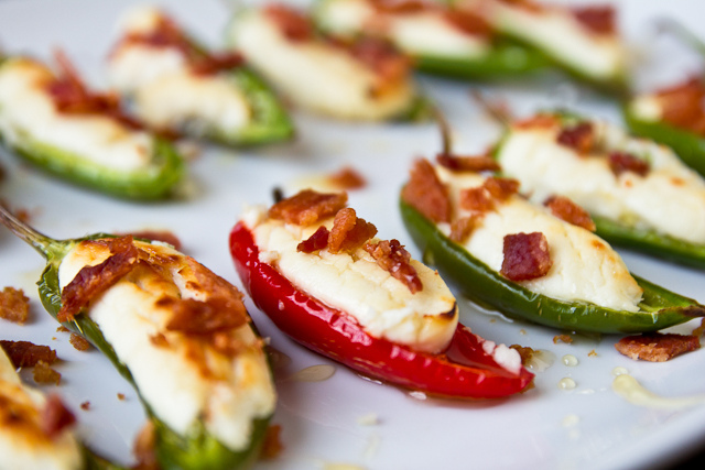 Goat Cheese Jalapeno Poppers with Honey And Bacon