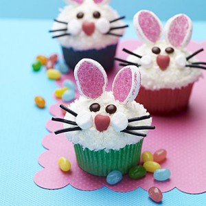 Easy Easter Bunny Face Cupcakes