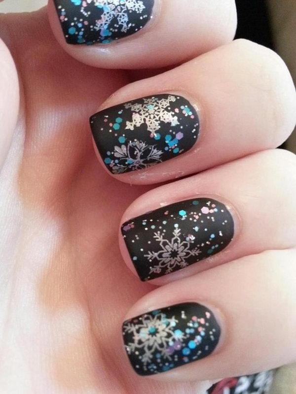 Black Snowflake Nail Art