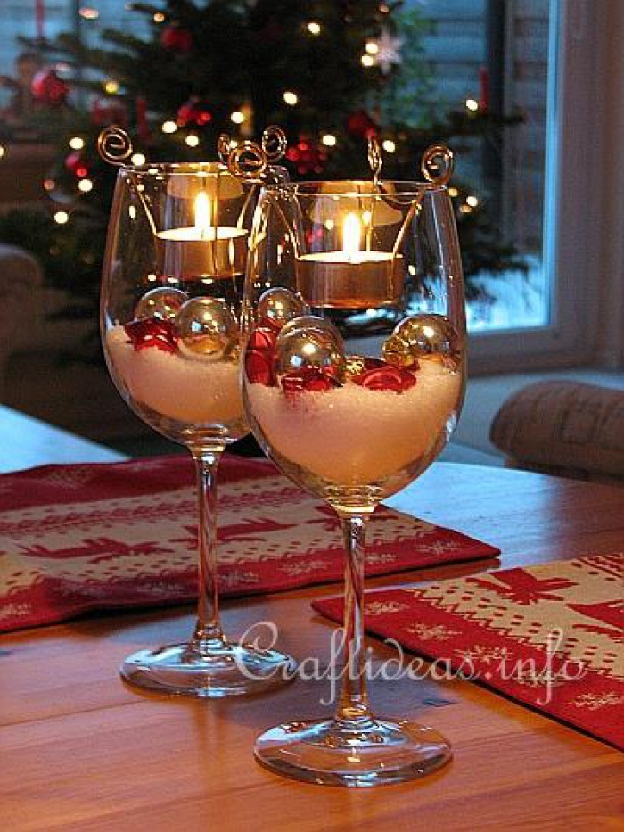 Christmas Table Decorations Idea With Candle Glass
