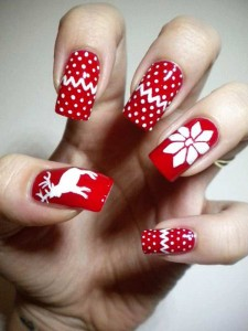 Red And White Christmas Reindeer Nail Art Design