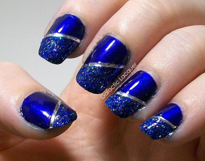 Blue-Silver-tiped-nails