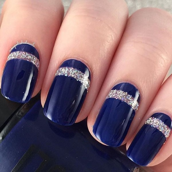 Navy Blue With Glitter Nail Art 3 Easyday