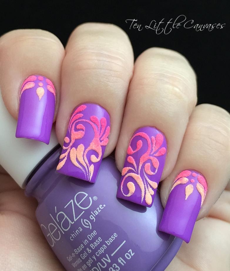 Neon-Flourish-purple-Nail-Design