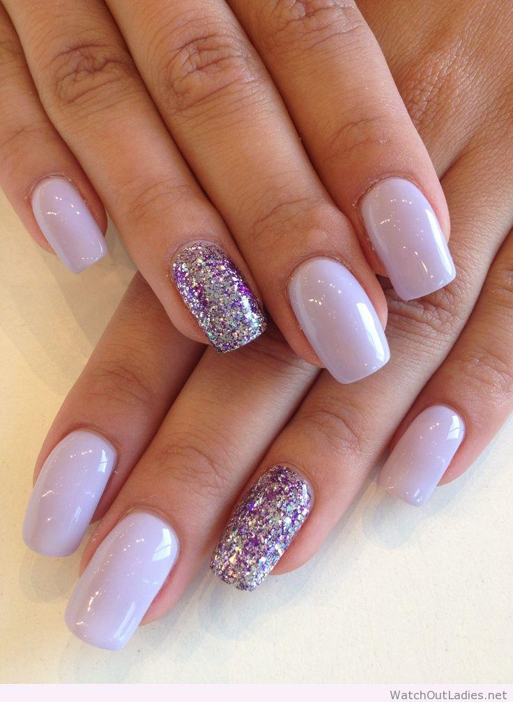 Silver-and-Purple-Glitter-Nails
