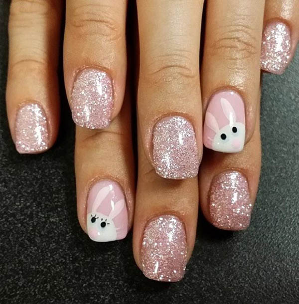 Ehmkay Nails Shy Bunny Easter Nail Art: 40+ Insanely Cute Easter Nail Designs For Your Inspiration