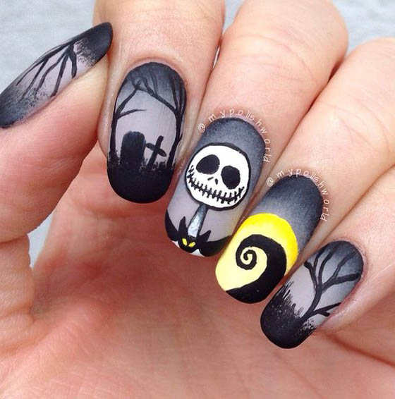 halloween-nail-art-design-3 - 36 Spooktacular Halloween Nail Art Designs - Easyday