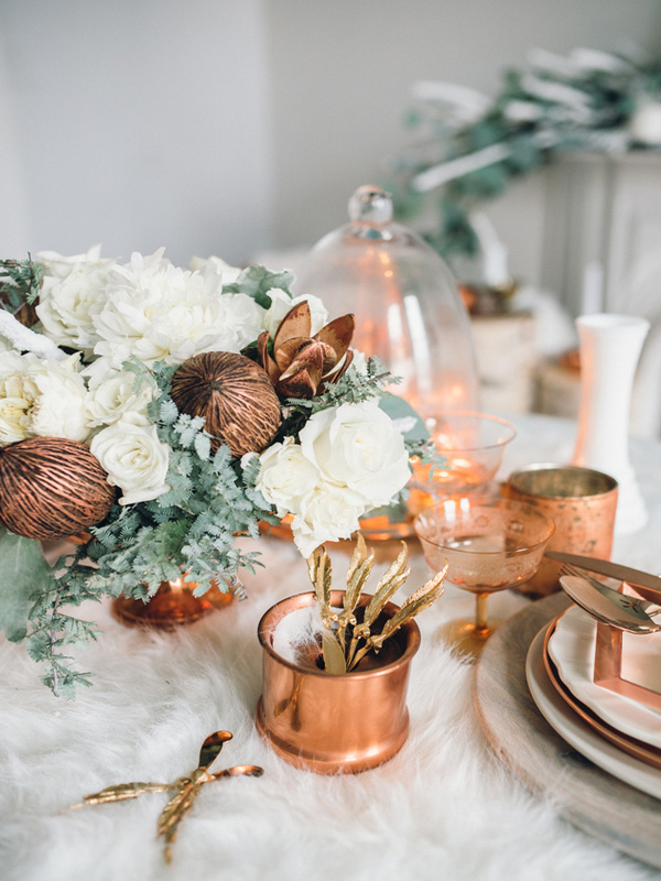 Ruffled – photo by Singler Photography http://ruffledblog.com/white-and-copper-winter-wedding