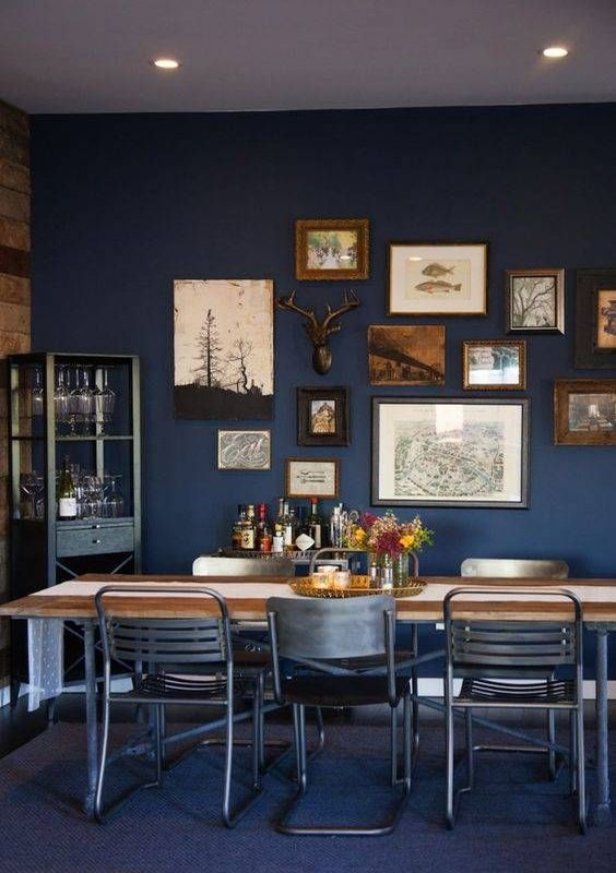 35 stunning designs to create the ultimate dining room for Navy dining room ideas